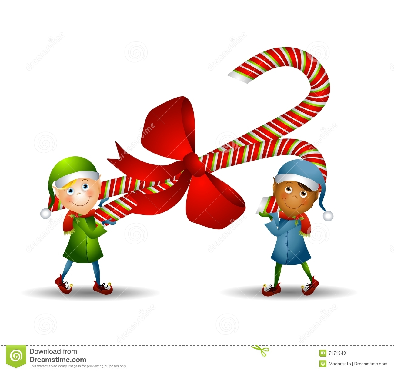 An illustration featuring two elves carrying a candy cane wrapped in a ...