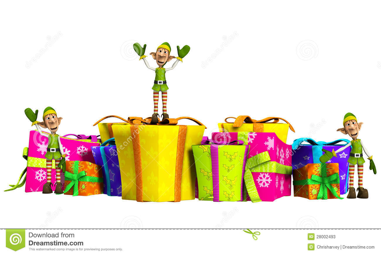 Elves With Christmas Gifts Stock Photos - Image: 28002493