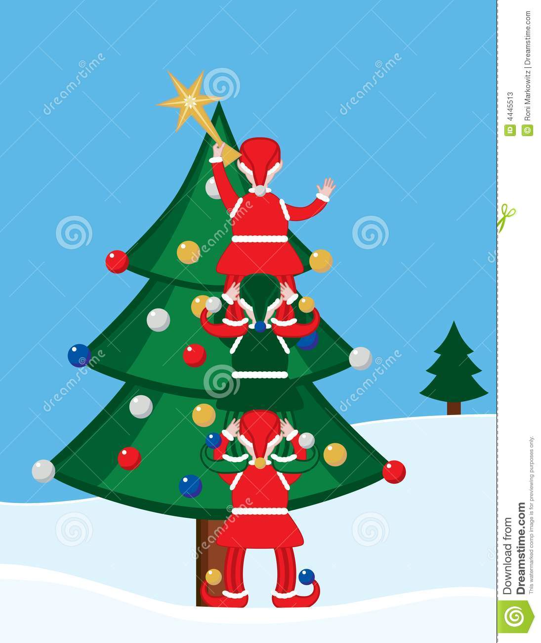 elves and christmas tree stock photos