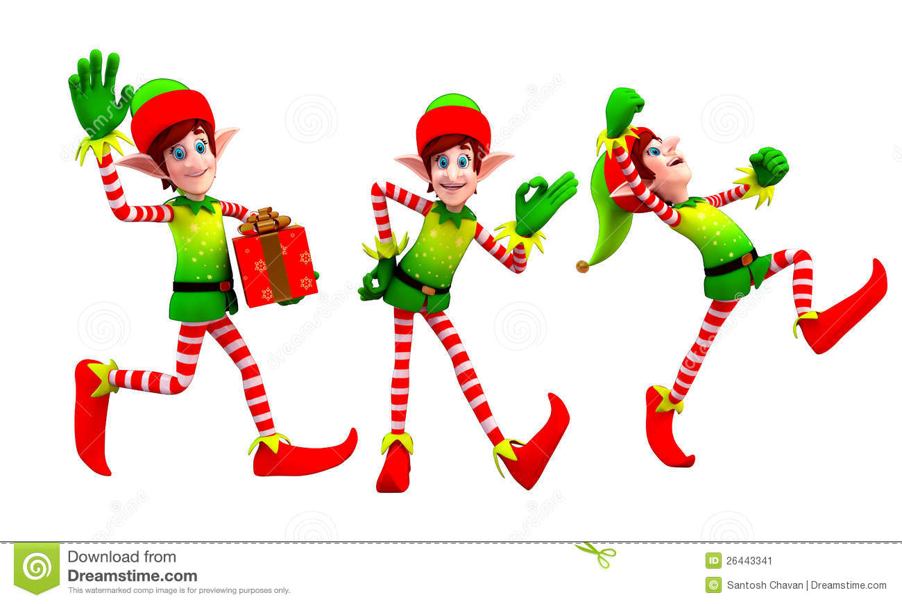 Stock Image: Elves dancing with gift. Image: 26443341