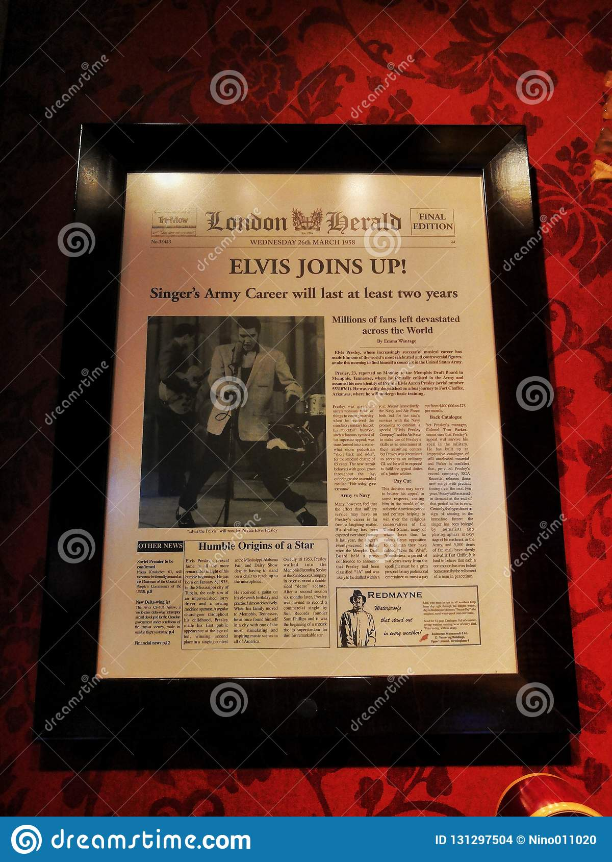 Elvis Presley editorial stock image  Image of newspaper