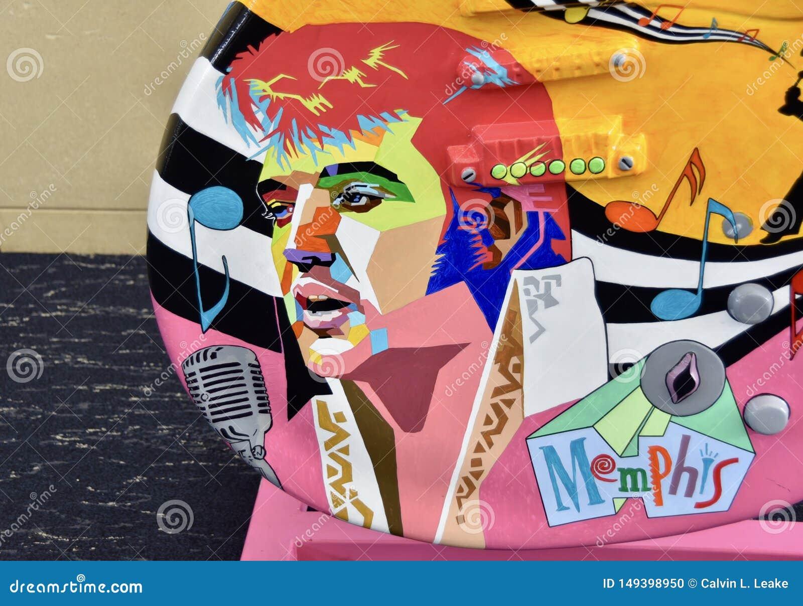 Elvis Presley Portriat Painted på en gitarr