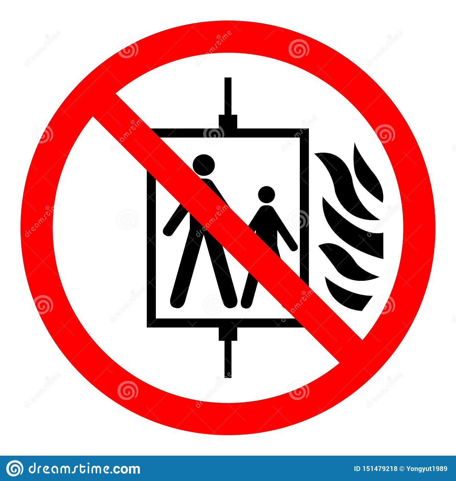 Em caso do fogo não use o sinal do símbolo do elevador, ilustração do vetor, isolado na etiqueta branca do fundo EPS10
