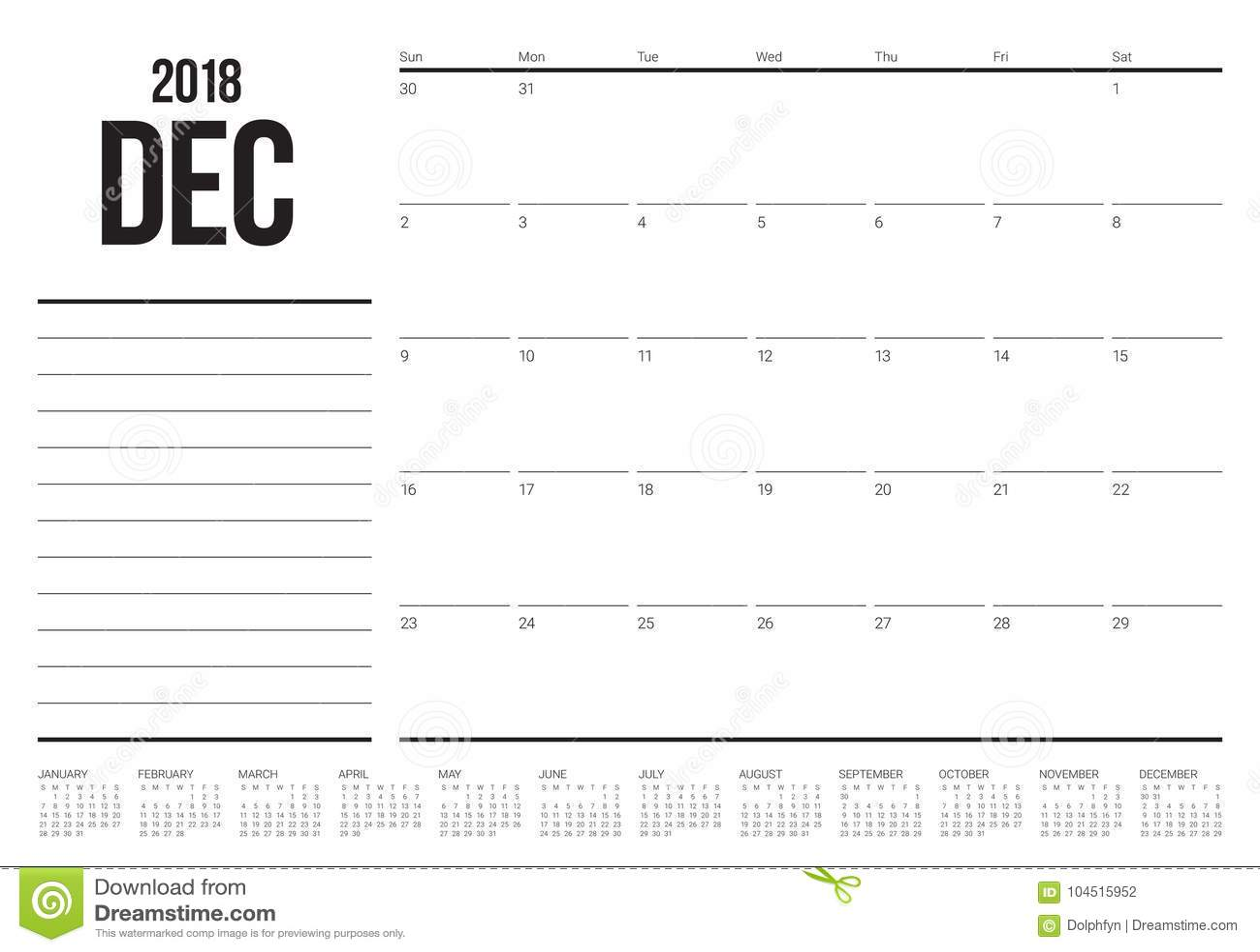 Em dezembro de 2018 ilustração do vetor do calendário do planejador