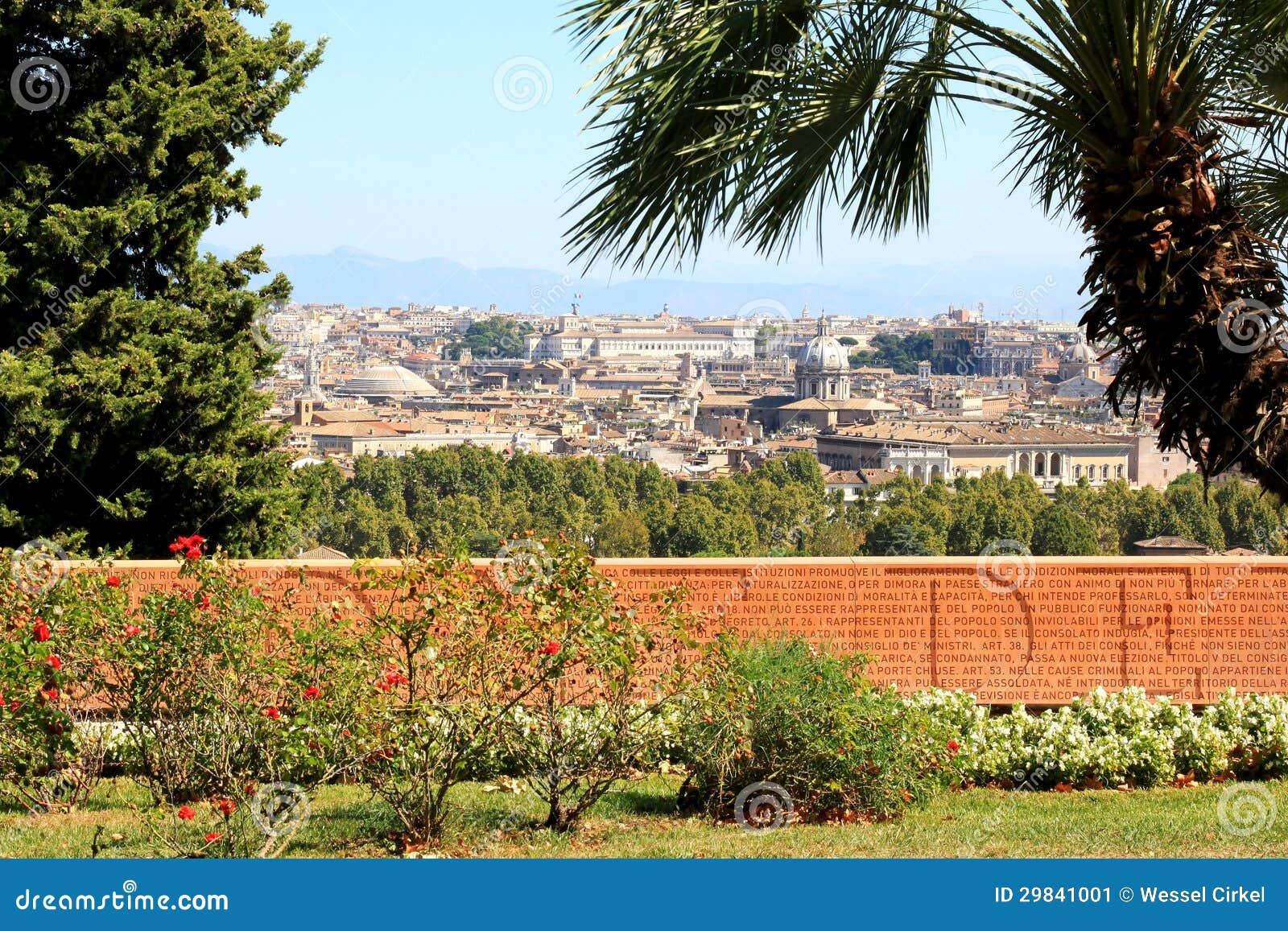 Parede memorável no monte de Janiculum em Roma, Italia