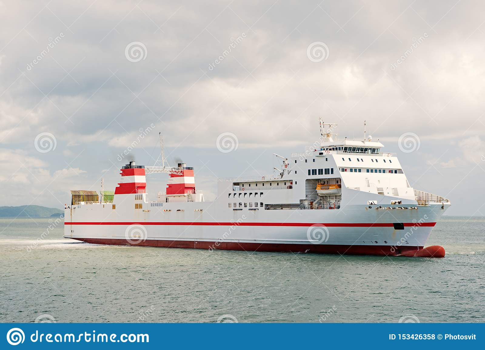Around The World. Cruise Ship At Seaside. Ocean Liner In ...