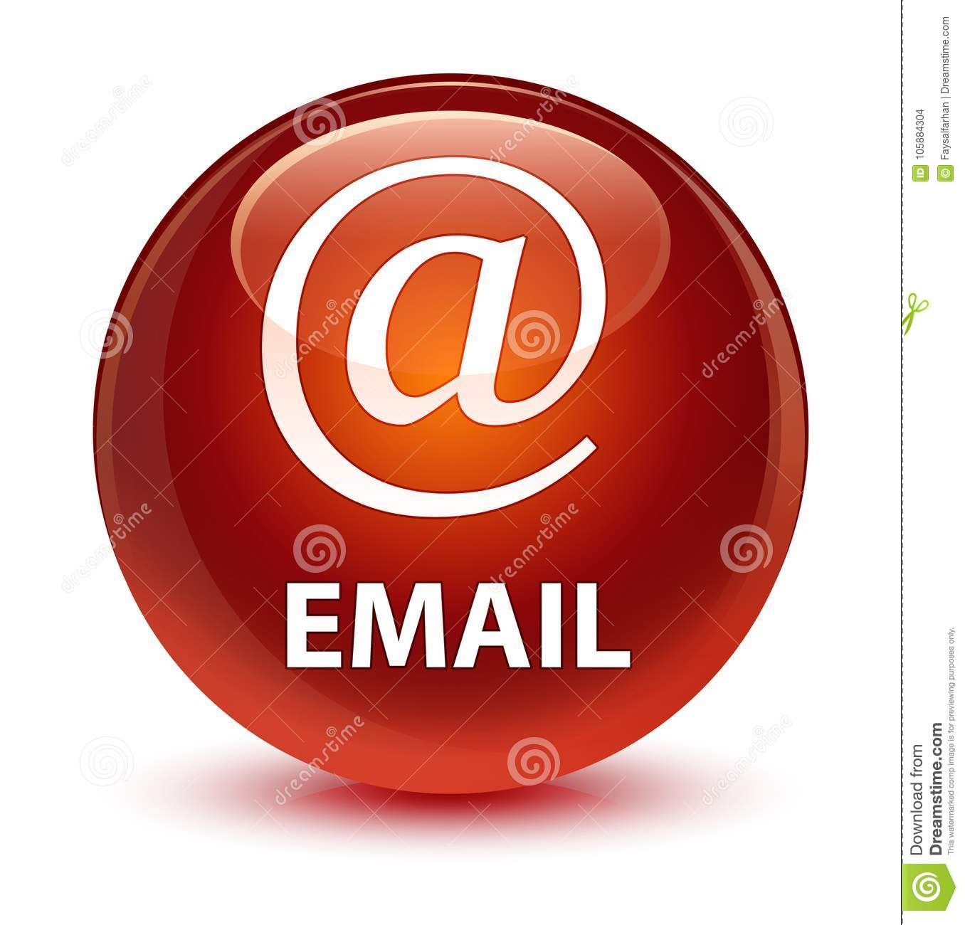Email (address icon) glassy brown round button