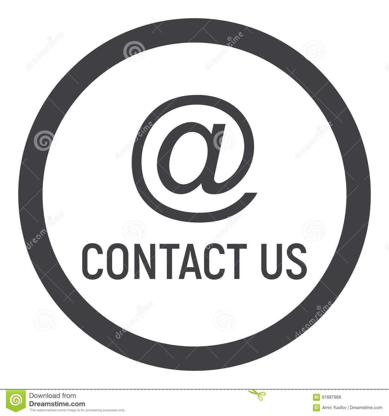 Email address line icon, contact us and website