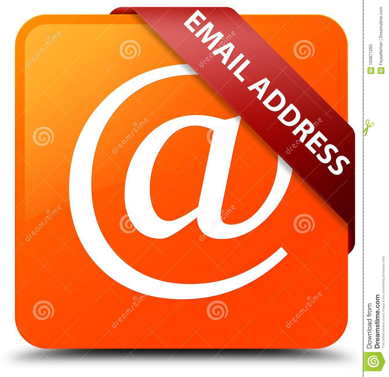 Email address orange square button red ribbon in corner