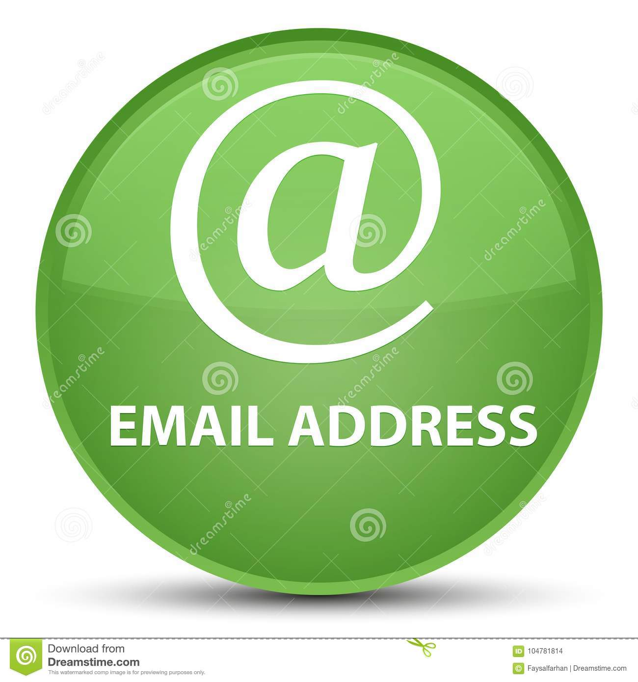 Email address special soft green round button