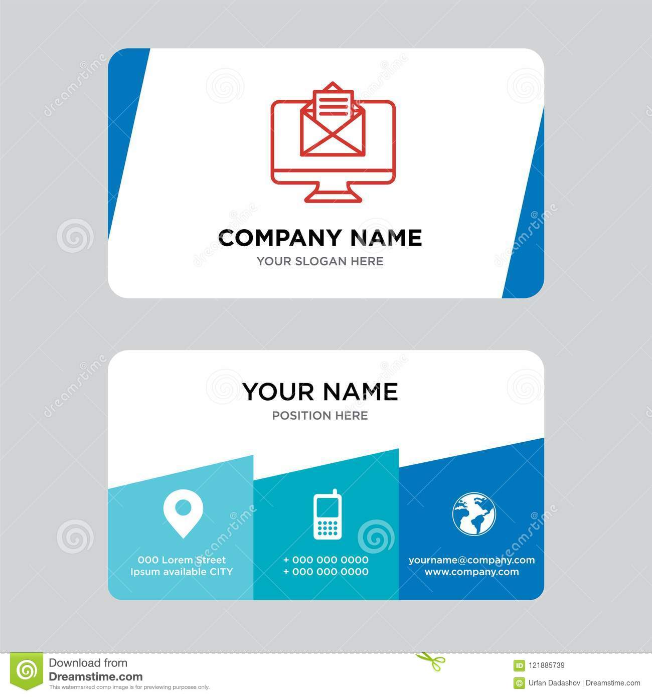 Email Business Card Design Template Visiting For Your Company