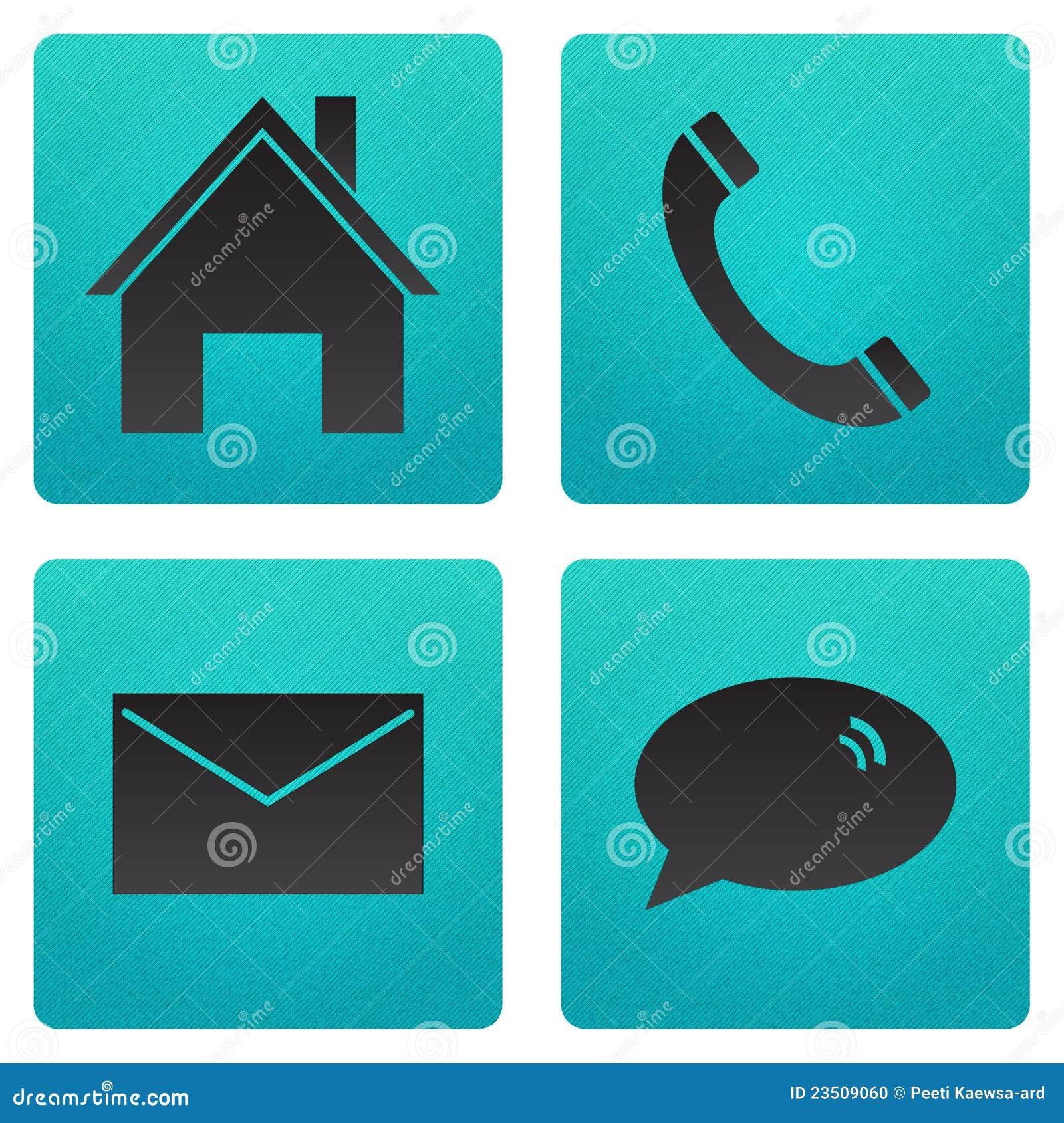 Email casero y charla del teléfono del icono