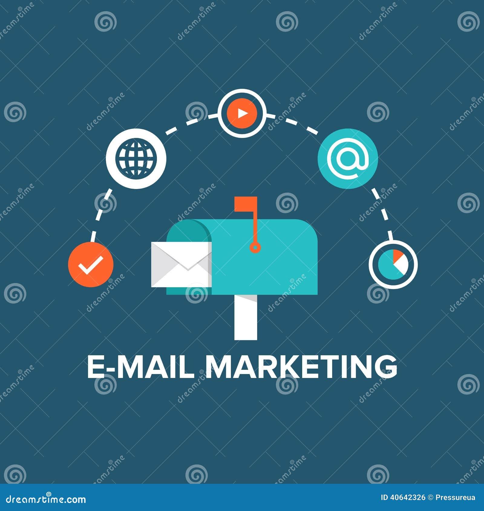Email che commercializza illustrazione piana