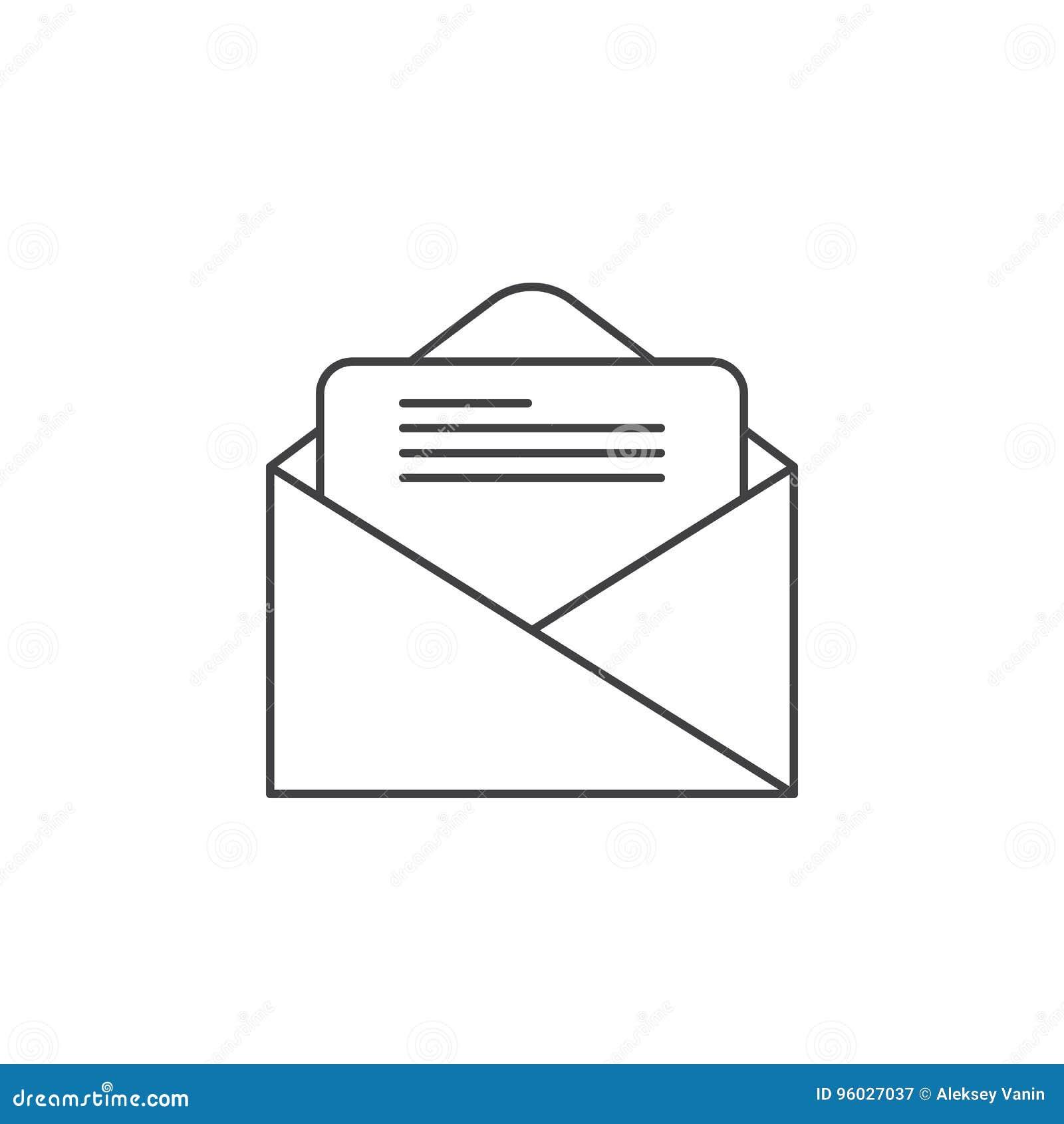 Email cienka kreskowa ikona, listowego konturu loga wektorowa ilustracja, o