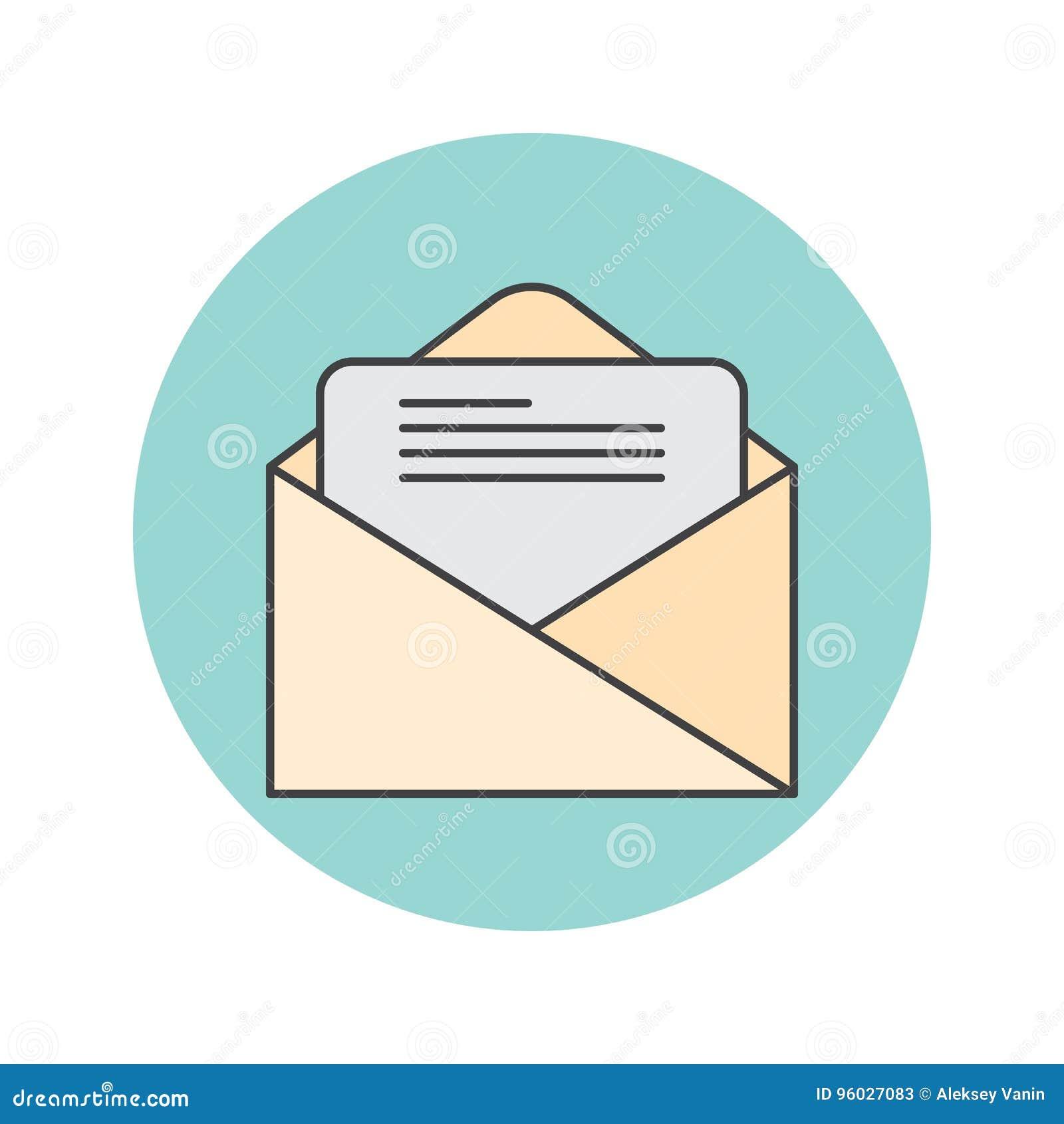 Email cienka kreskowa ikona, listowy wypełniający konturu loga wektorowy illustra