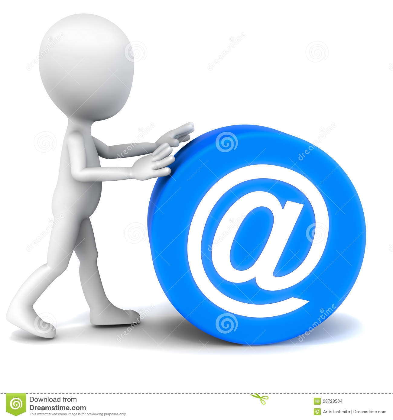 Communication over email concept, little 3d man rolling down a ...