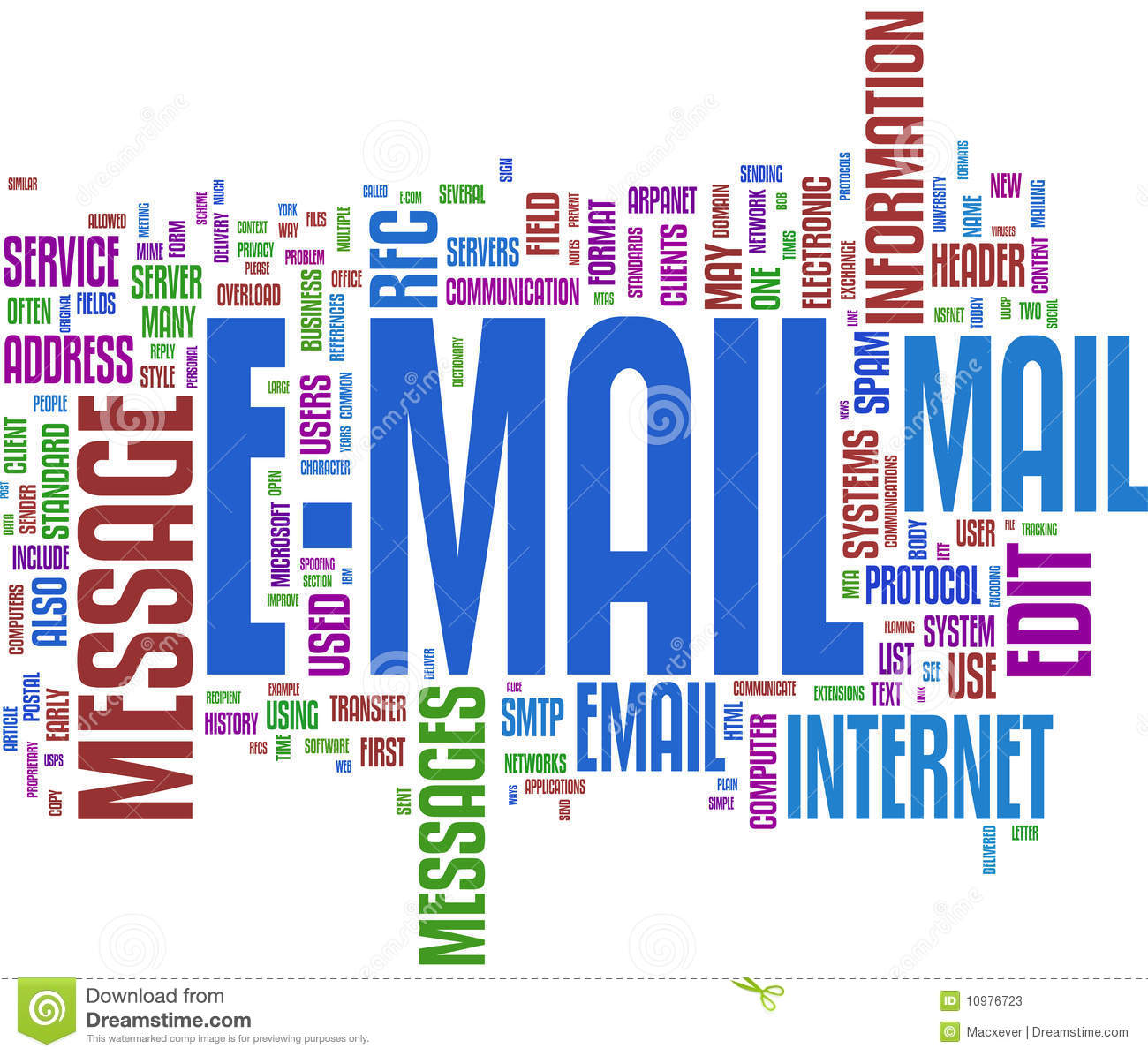 Email Communication Word Cloud Stock Photos - Image: 10976723