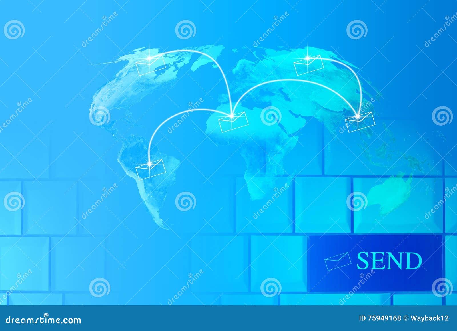 global email concept world message vector illustration. Black Bedroom Furniture Sets. Home Design Ideas