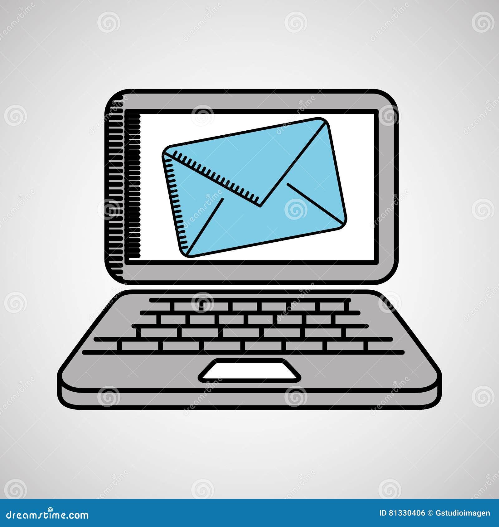Email De Technologie D Ordinateur Portable De Dessin Illustration De