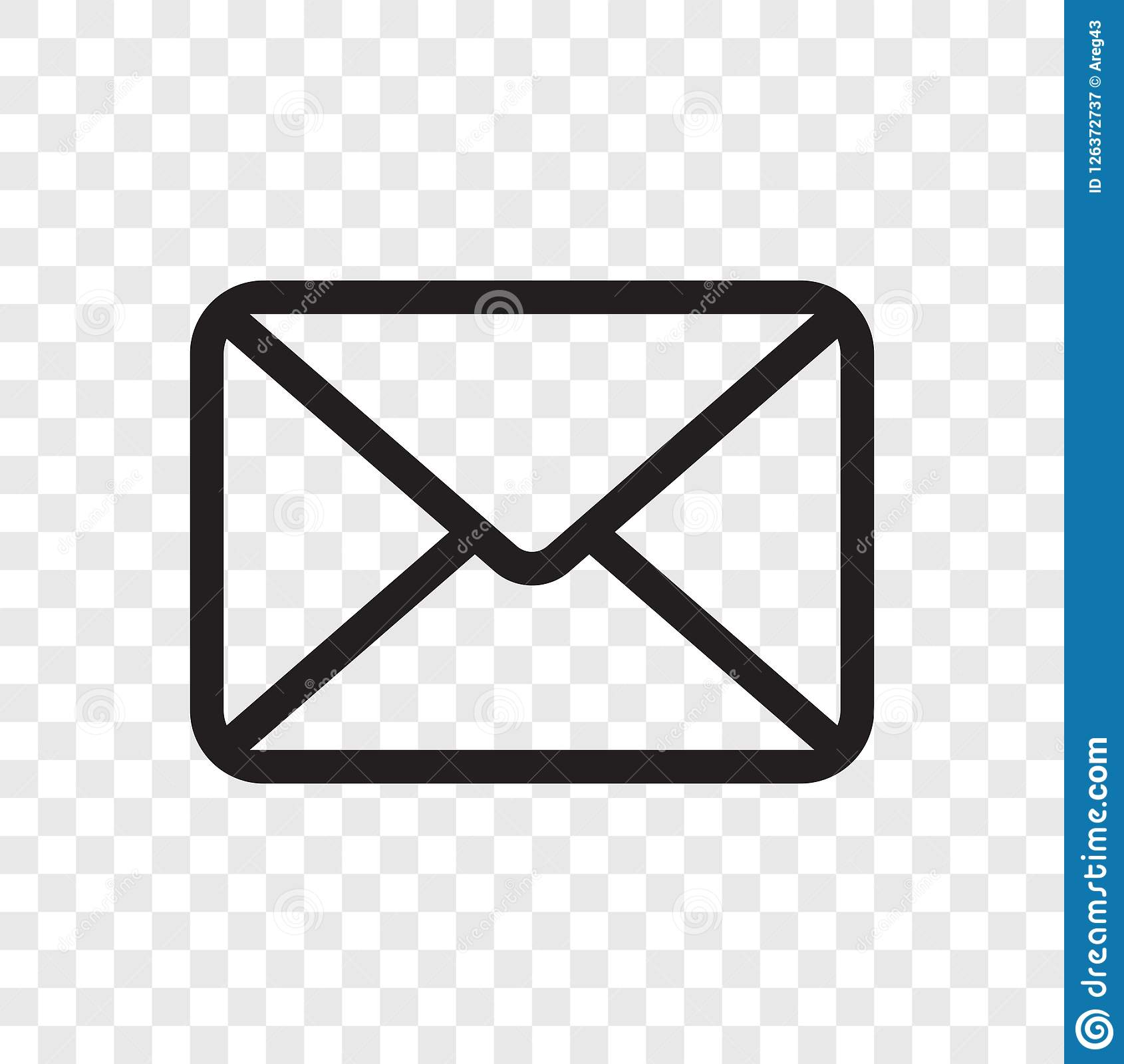 Email envelope icon. Vector mail message symbol isolated on transparent background