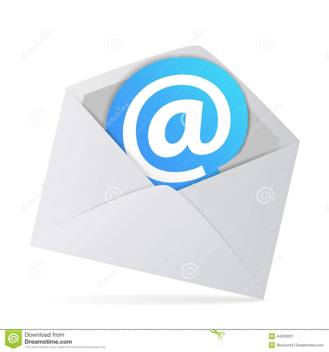 email envelope with at web symbol stock illustration