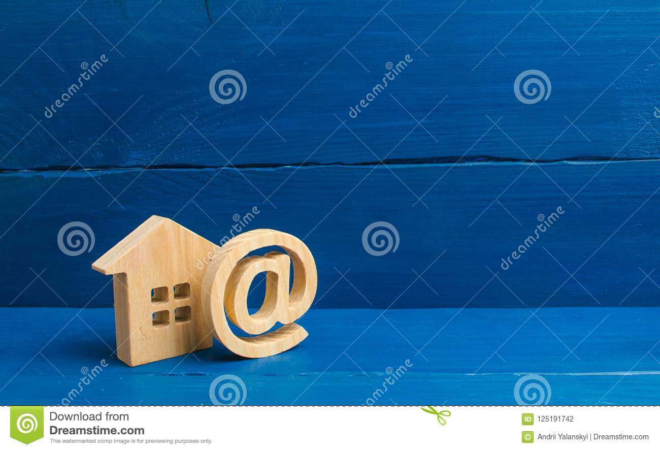 Email icon and house. Contacts of e-mail, home page, home address. communication on Internet. Contacts for dating. Establishing co
