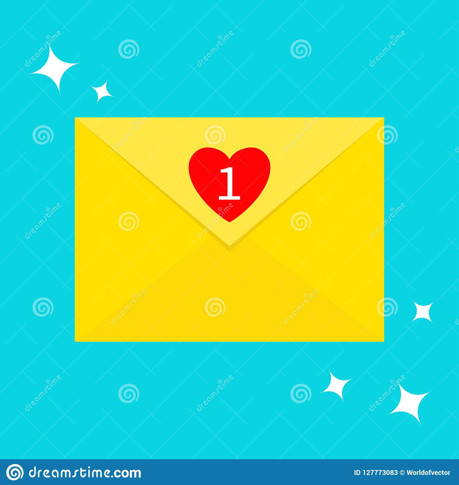 Email icon. Yellow paper envelope. Letter template. New message sign symbol. Unread mail notification with heart number marker. On