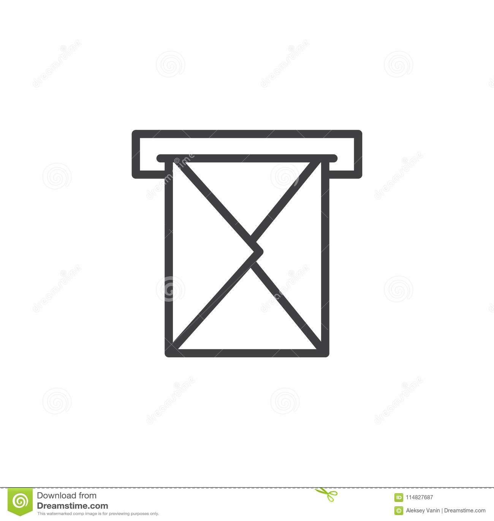 Email koperta przez skrzynka pocztowa konturu ikony