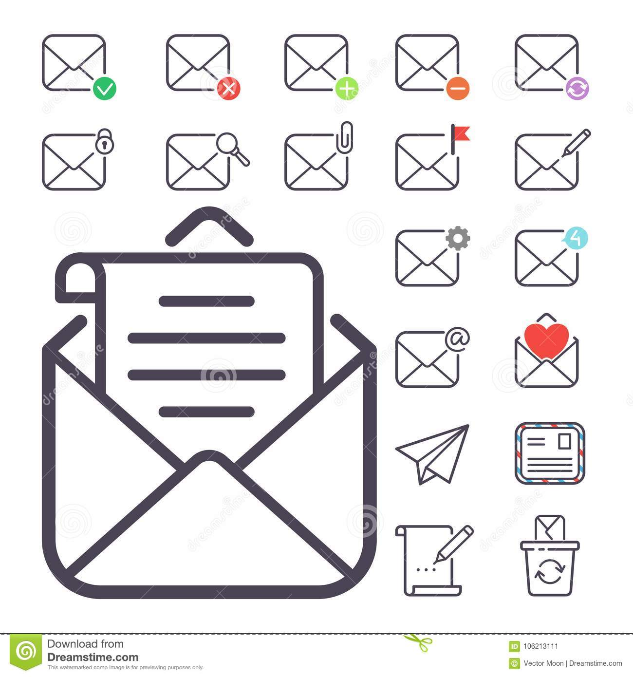 Email letter vector icons set envelope cover communication correspondence blank address outline mailbox design paper
