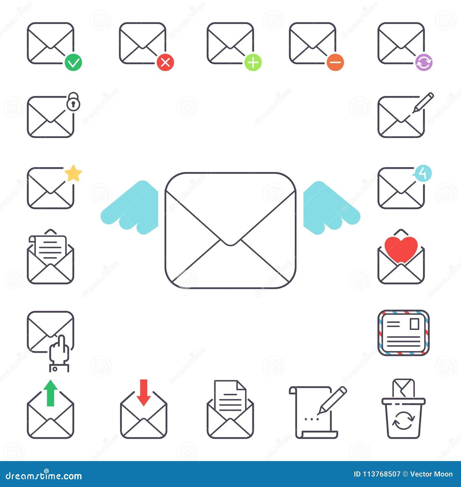 Email letter vector icons set envelope cover communication correspondence blank address outline mailbox design paper