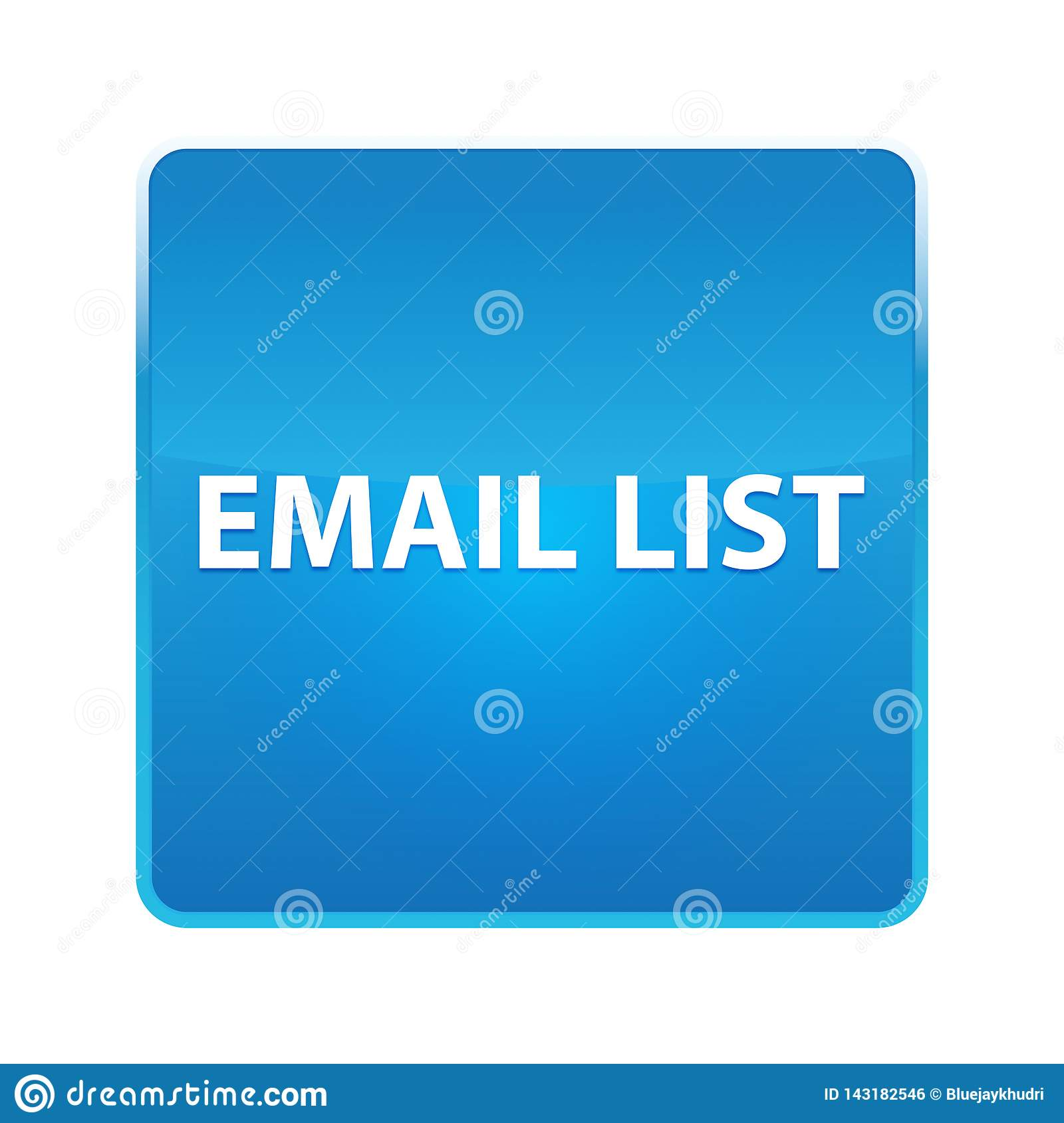 Email List Shiny Blue Square Button Stock Illustration
