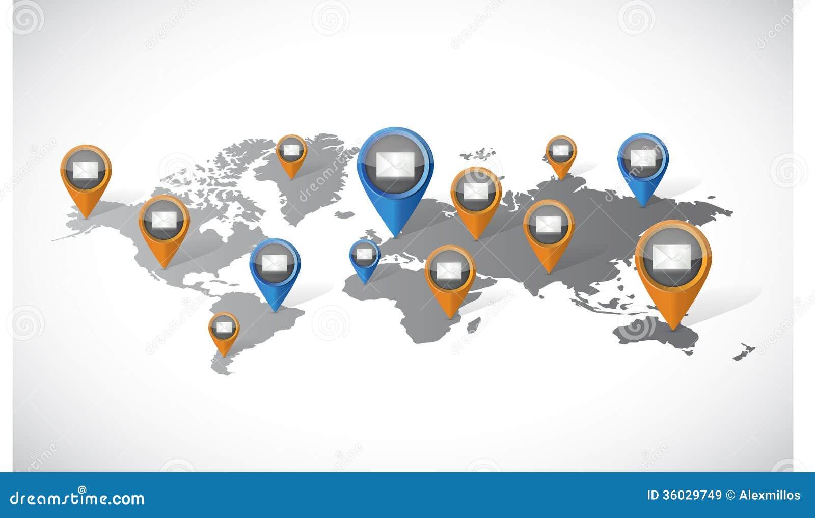 Email marketing communication world map