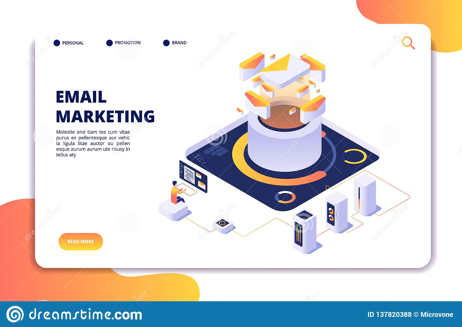 Email marketing. Mail automation strategy. Email outbound newsletter campaign, mailing spammer services isometric vector