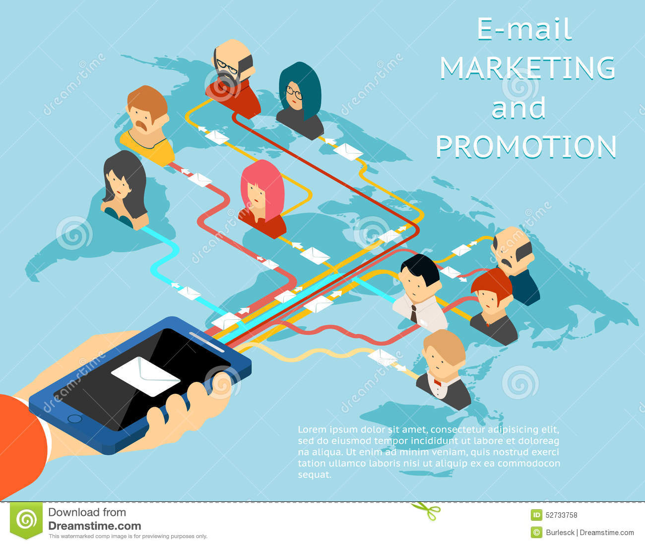 Email marketing and promotion mobile app isometric 3d illustration ...