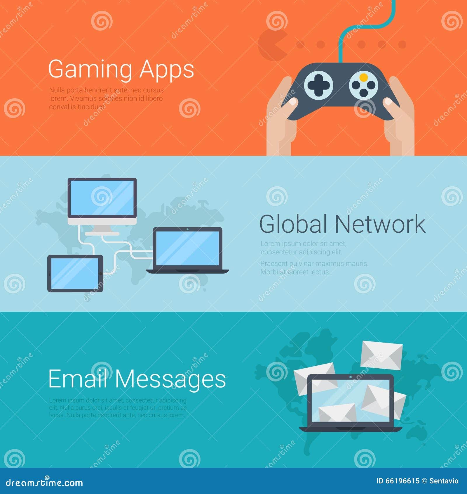 Email network gaming apps website slider banner flat vector