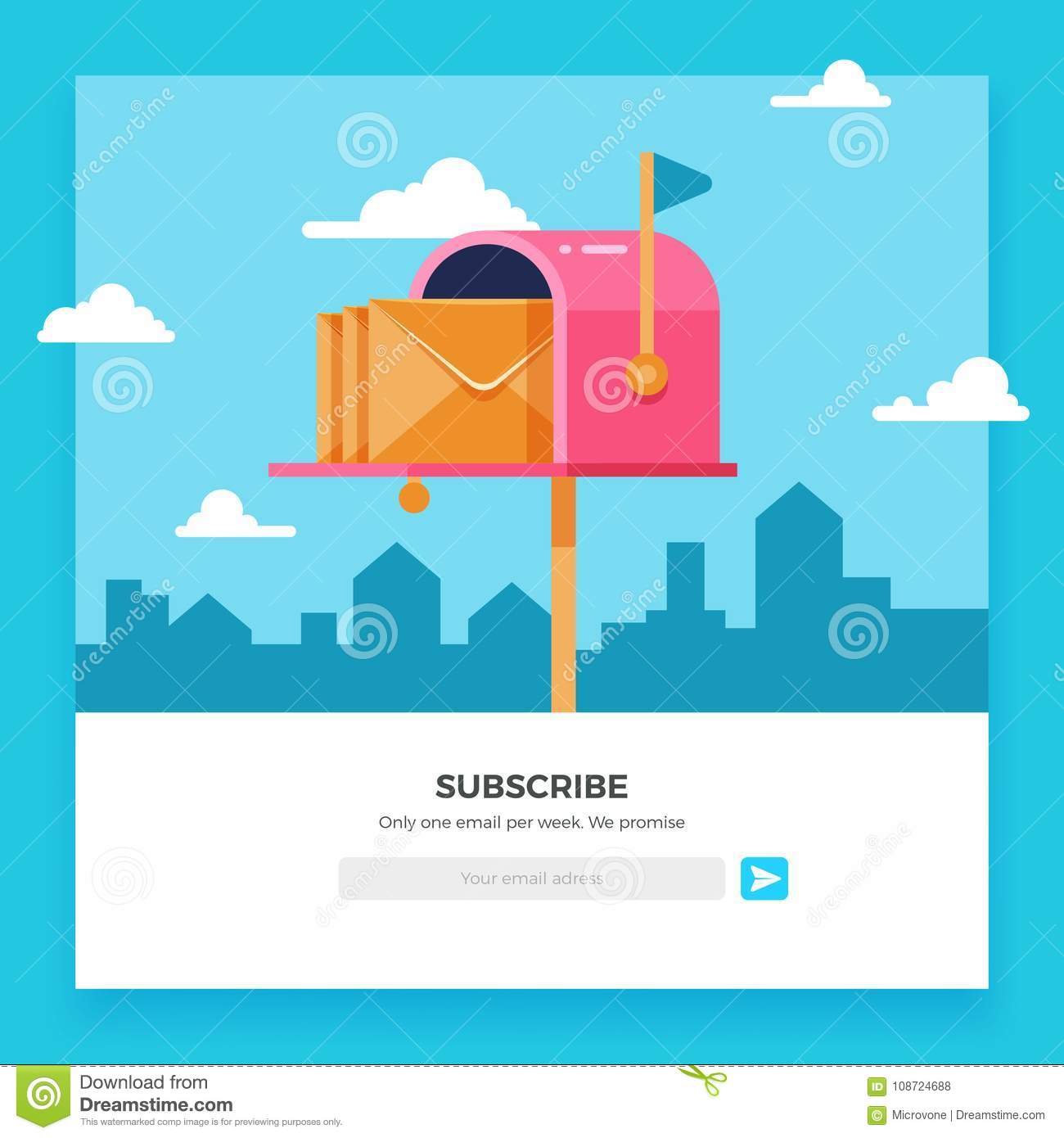 Email Subscribe Online Newsletter Vector Template With Mailbox And - Online envelope template