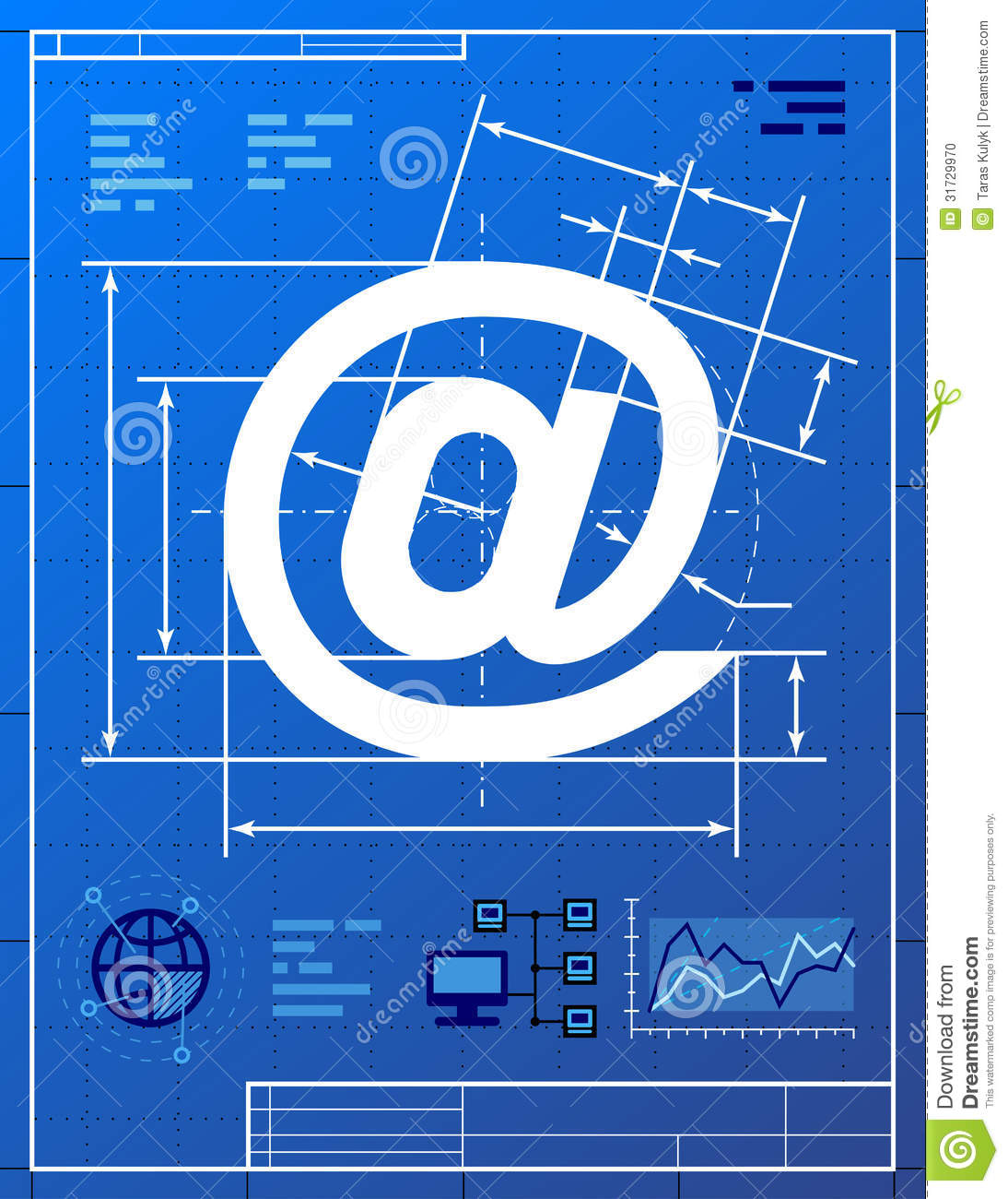 Email Symbol Like Blueprint Drawing Stock Vector