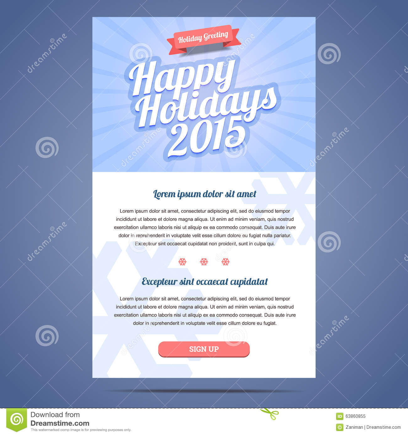 Email Template With Greeting Christmas And Happy Stock Vector