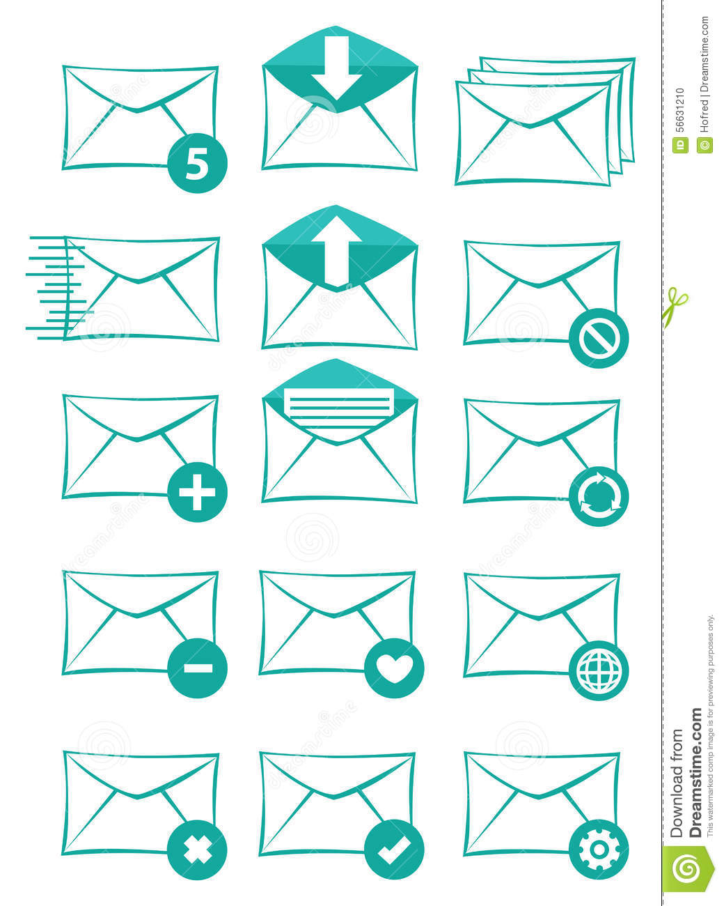 Email And Text Messaging Vector Icon Set Stock Vector Illustration