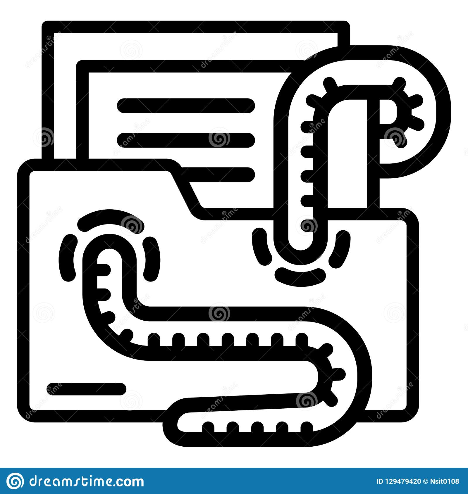 Viral Times Web: Email Virus Worm Icon, Outline Style Stock Vector