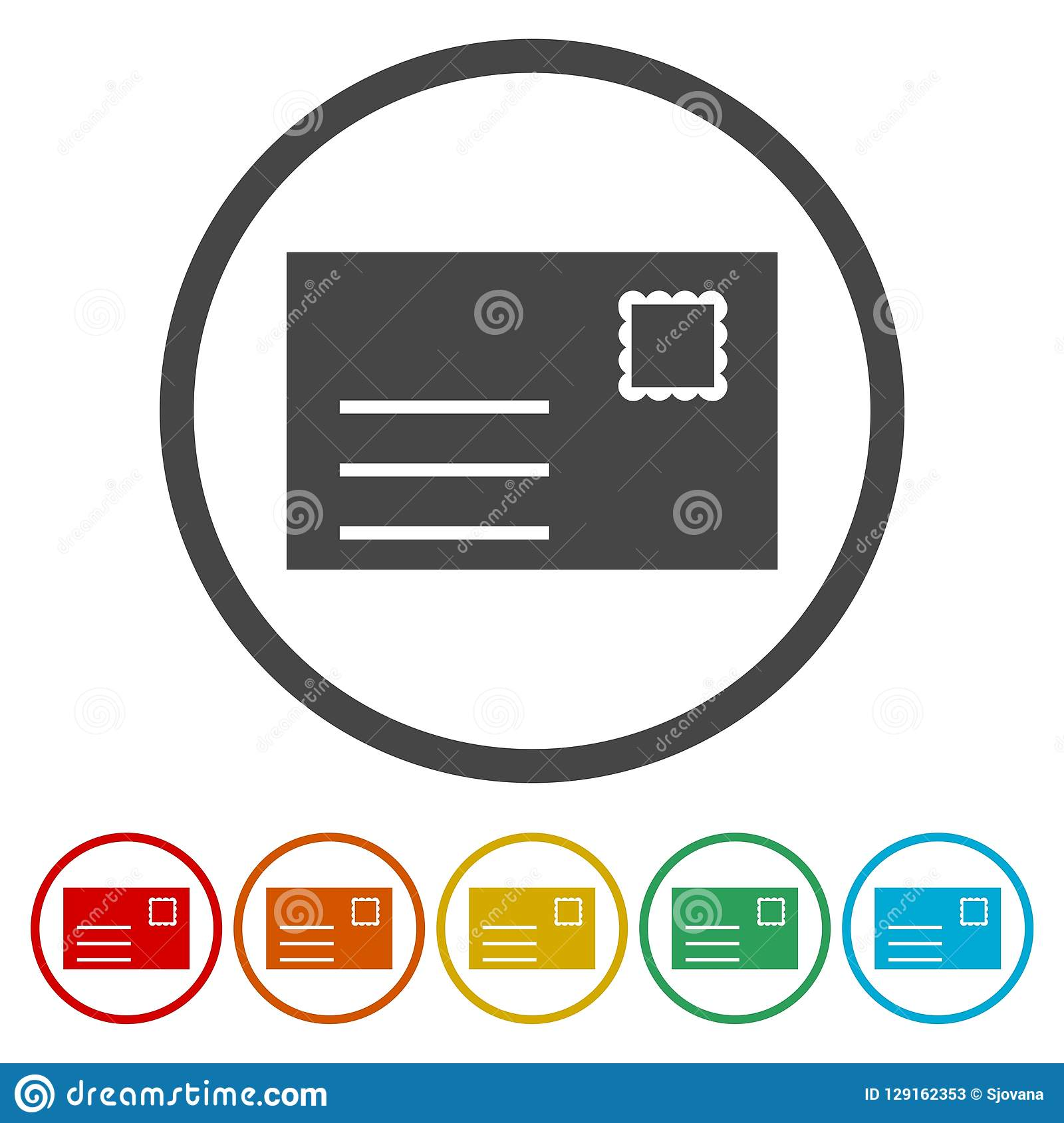 Email web flat design circle icon.Mail icon. Envelope symbol. Message sign.