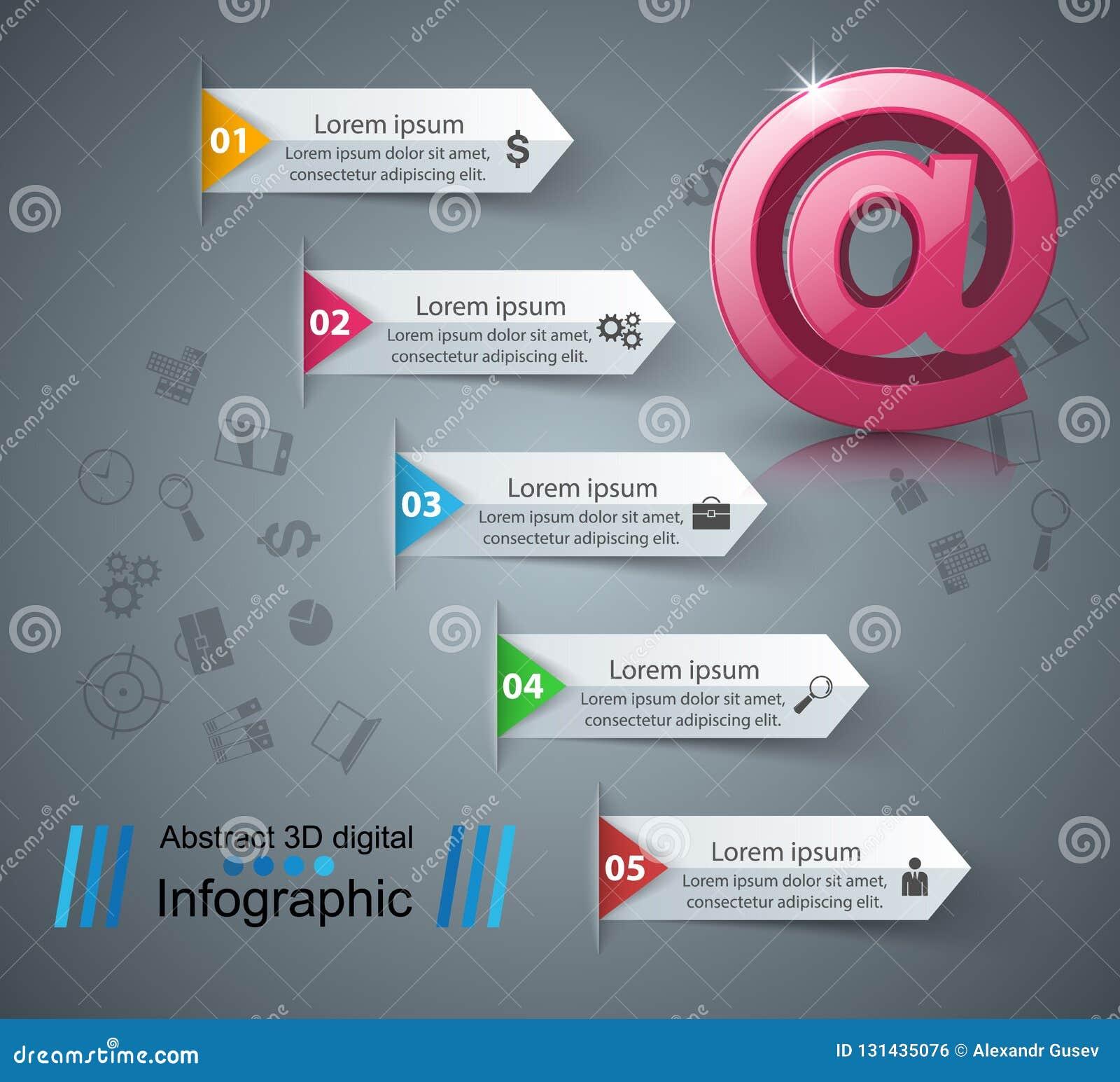 Emaila i poczta ikona Abstrakt 3D Infographic