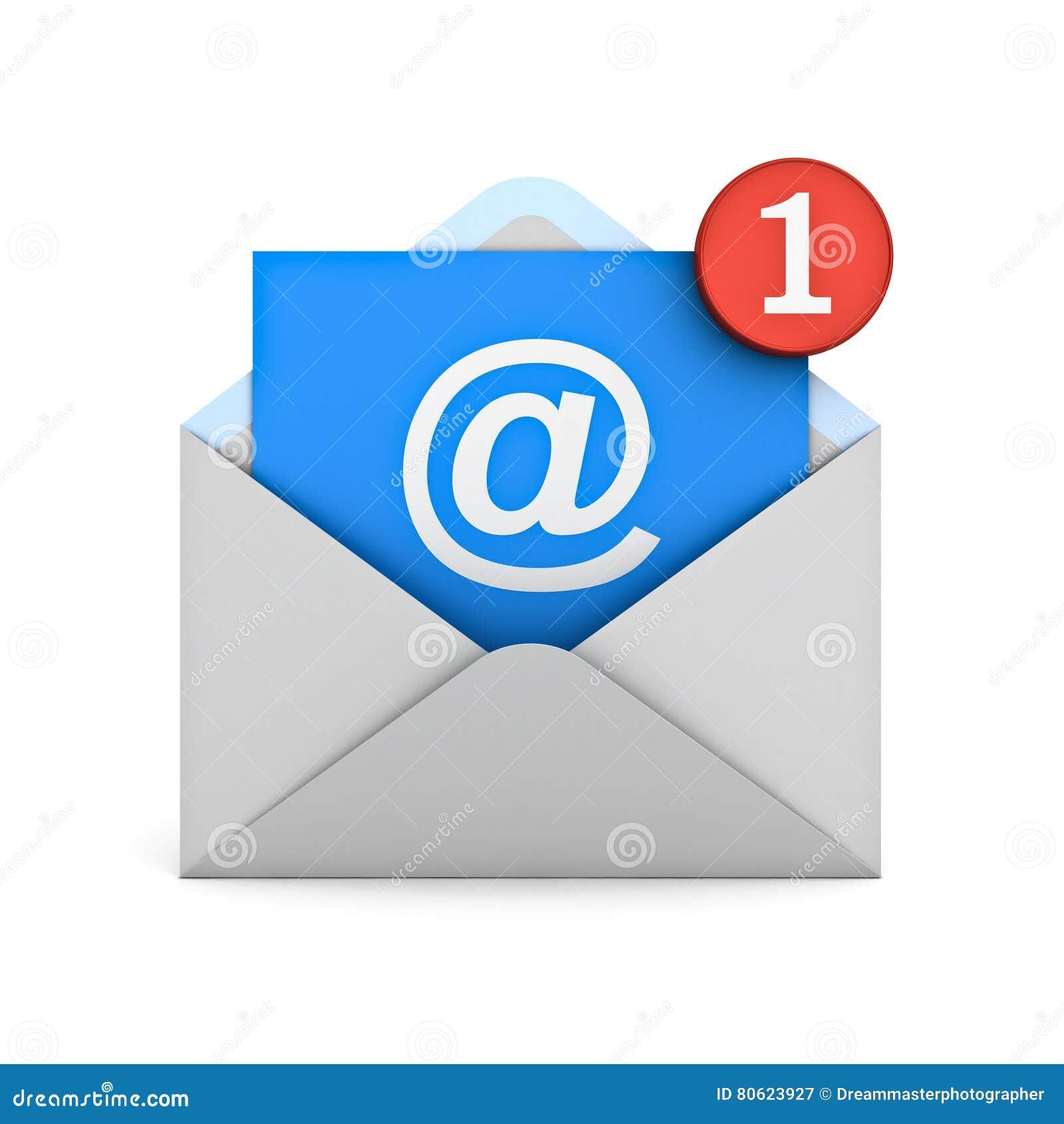 Emaila powiadomienia jeden nowy e-mail w inbox pojęciu