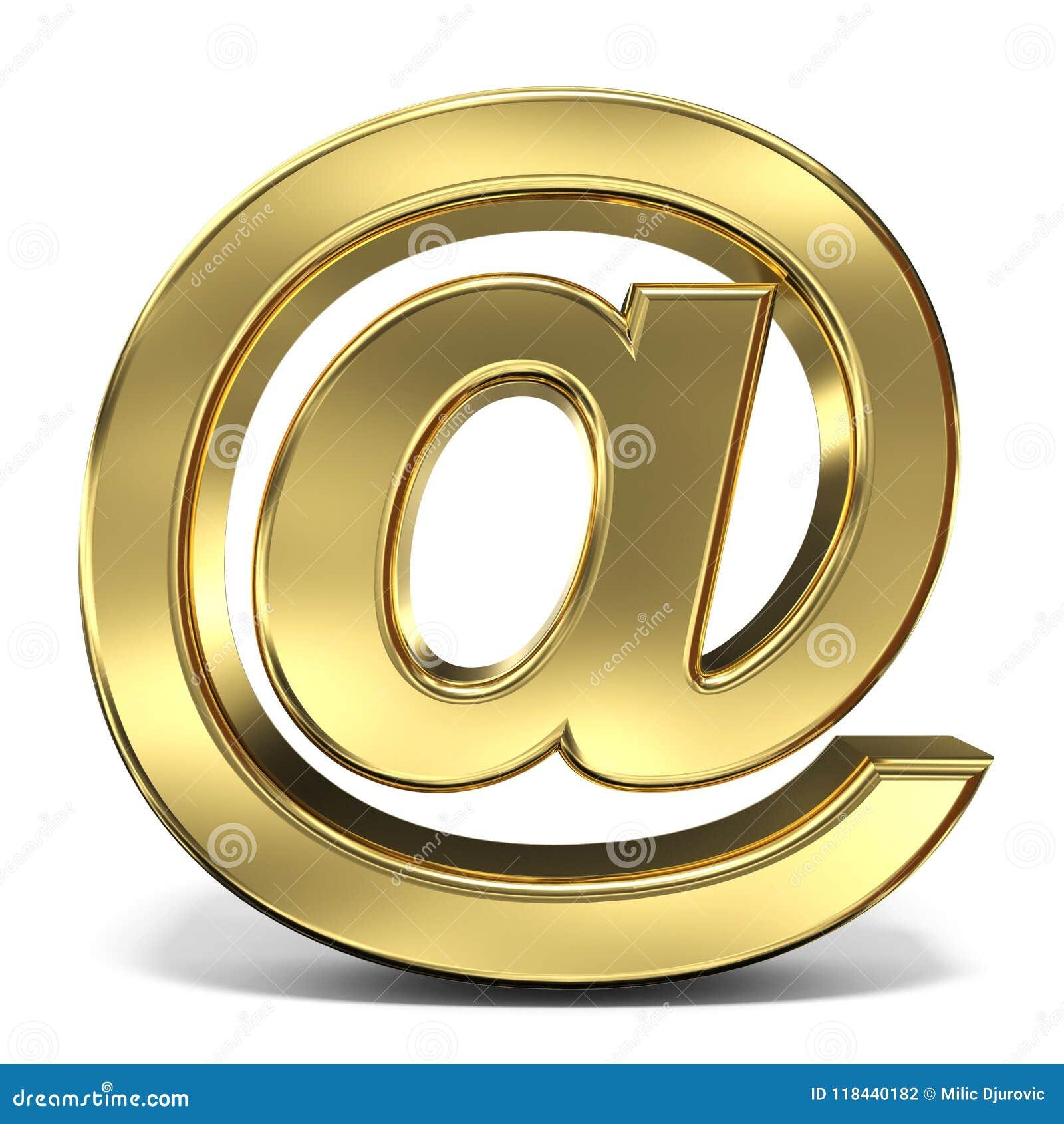 Emaila znak przy symbolu 3D renderingu ilustracją na białym backgro