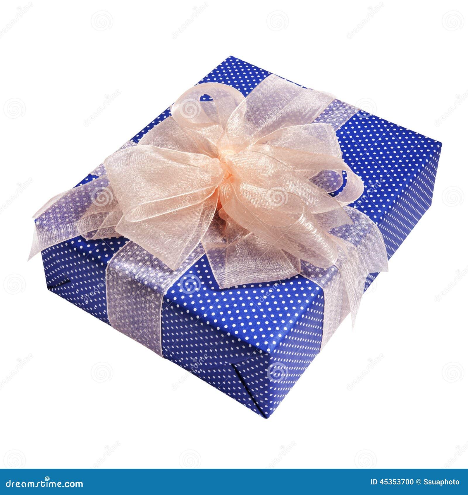 Emballage bleu de cadeau de Noël