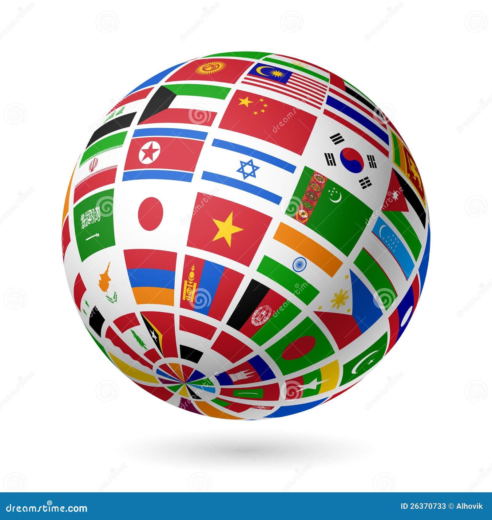 Embandeira o globo. Ásia.