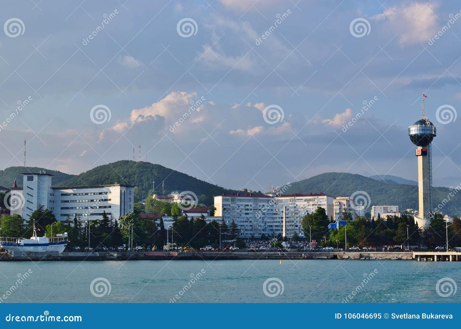 The embankment of city Tuapse in Krasnodar Krai, Russia.