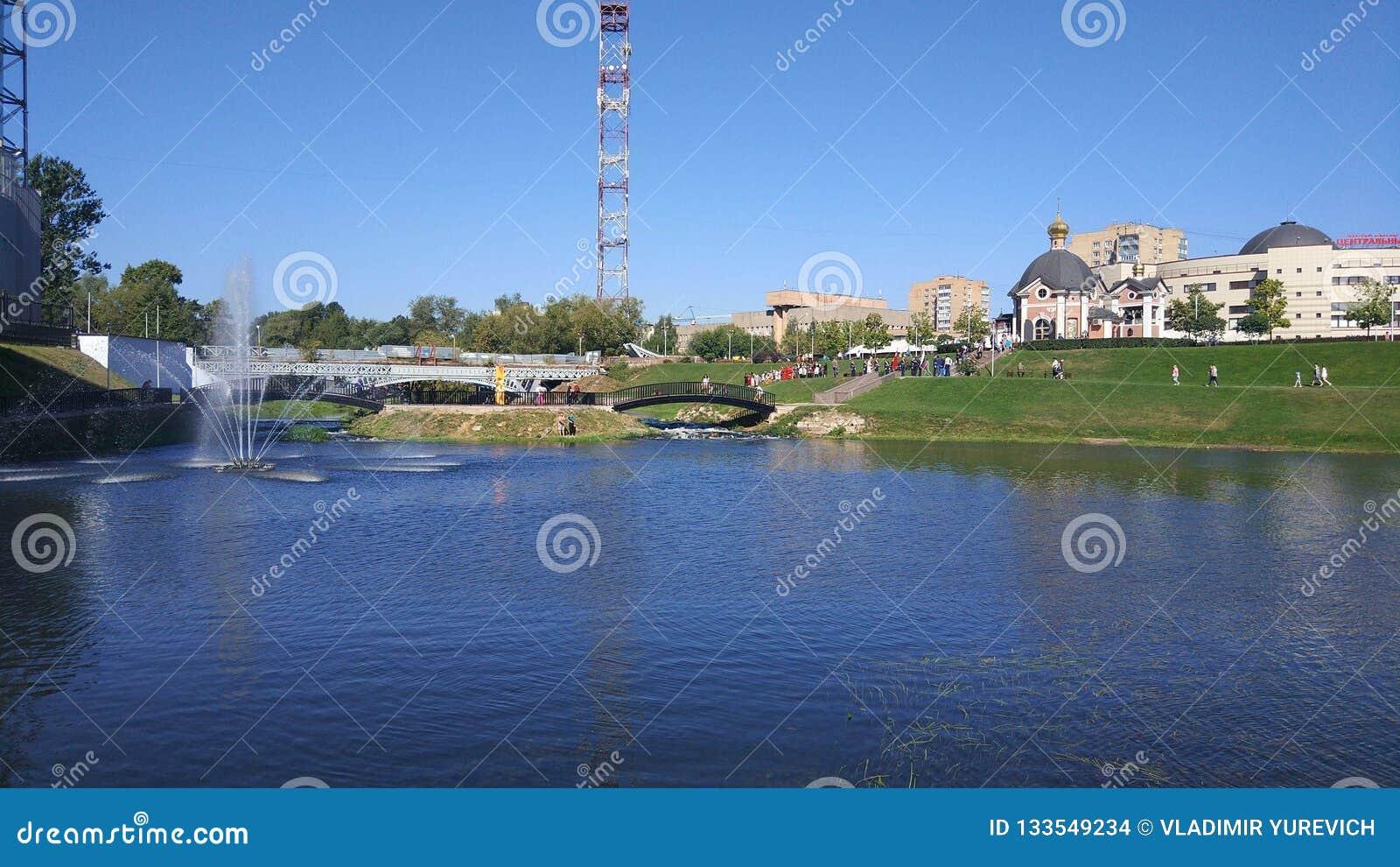 Embankment of the Klyazma river in the city of Shchelkovo, Moscow region.