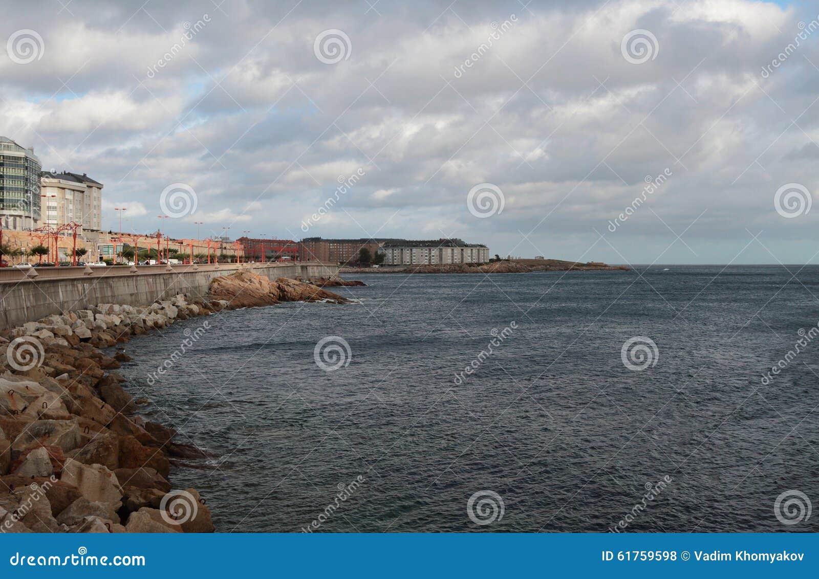 Embankment And Sea Corunna Spain Stock Photo Image