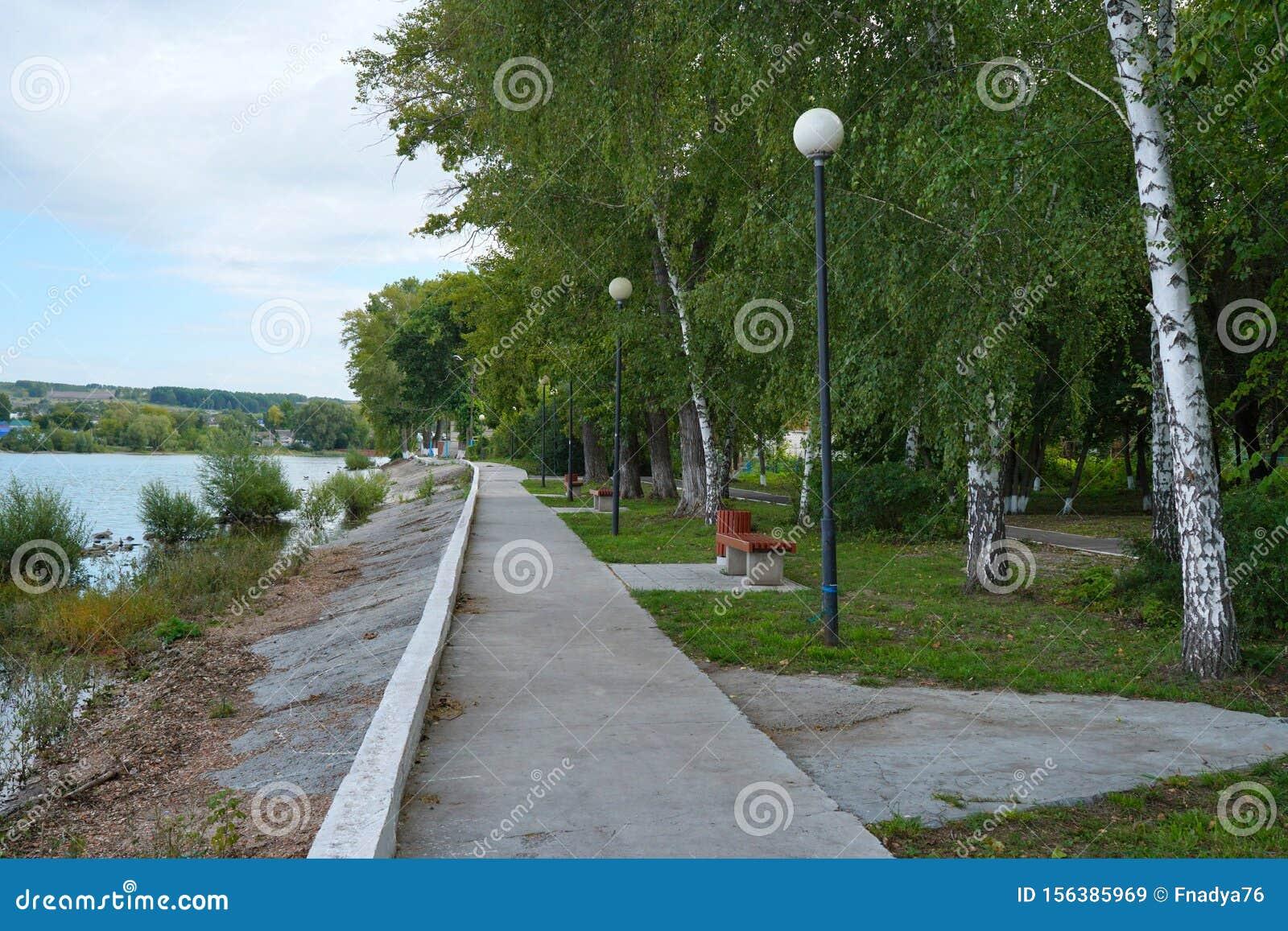 Embankment by the Volga River. Ulyanovsk Region. Sengiley city.